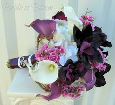 silk wedding bouquet plum lavender wedding bouquet calla orchid silk wedding