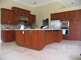 elegant brown wild cherry wood shaker kitchen cabinets with white
