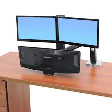 Stand Up And Sit Down Desk by Standing Workstation Workfit A Dual Monitor Standing Desk Ergotron