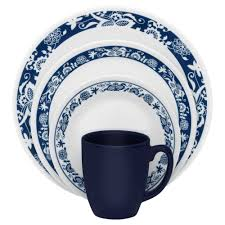 16piece corelle dinnerware set for service white blue dishes