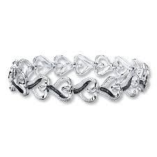 kay jewelers open heart kay diamond heart bracelet 1 20 ct tw black white sterling silver