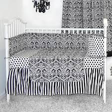 sleeping partners damask black and white 4 piece baby crib bedding