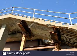 i beams supporting collapsing cement stairs stock photo royalty