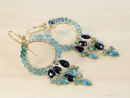 blue chandelier earrings blue tourmaline chandelier earrings in gold filled valltasy