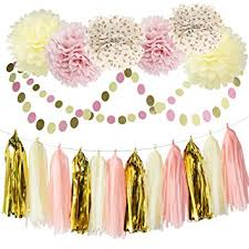 pink and gold baby shower decorations bridal shower decorations tissue pom pom pink