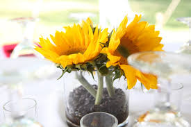 table centerpieces with sunflowers creative idea simple yellow sunflowers in clear glass party table