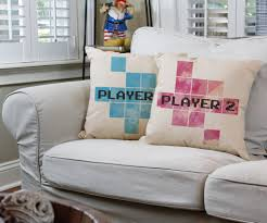 player one player two video game throw pillows gamer couple