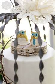 owl cake toppers ivory leaf wedding cake with grapevine birch and ceramic owl cake