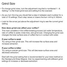handground precision coffee grinder user manual
