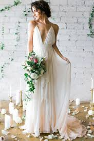 simple wedding dresses for brides ivory v neck sweep wedding dresses bridal gown with