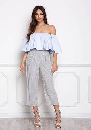 light blue off the shoulder top junior clothing light blue off shoulder ruffle bell sleeve crop