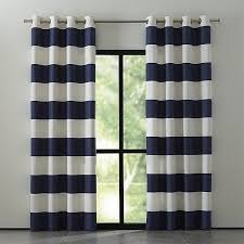 Blue And Striped Curtains Alston 50 X84 Ivory Blue Striped Curtain Panel Crate And Barrel