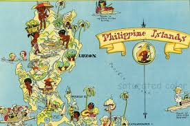 Philippines Map World by Philippine Islands Original 1930s Antique Picture Map