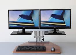 Desk For Dual Monitor Setup Kangaroo Desk Dual Monitor Elite Adjustable Height Ergo Desktop