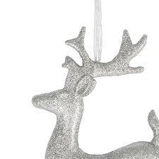 large silver glitter reindeer decoration 35cm time uk