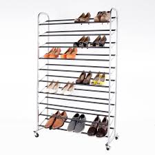 amazon com storageideas 10 tier 50 pair rolling shoe rack