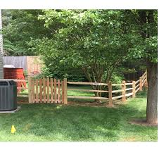 3 rail split rail fence with wire mesh and single gate wood