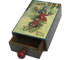 wreath box jewelry wood box bow box decoupage wreath