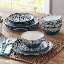 better homes and gardens teal medallion 12 dinnerware set