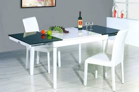 extendable round wood and frosted glass top leather modern dining