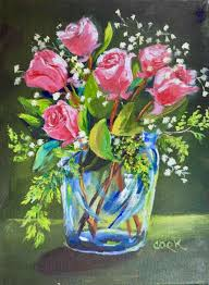 How To Paint A Glass Vase With Acrylic Paint Pink Roses In Glass Vase Acrylic Painting Lessons For Beginners
