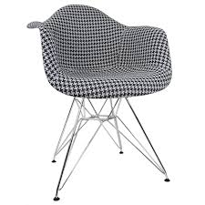 Modern White Arm Chairs Houndstooth Pattern Woven Fabric Upholstered White Eames Style