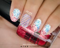 4th july nailart with cinapro nail sugar nail polish alps nail art