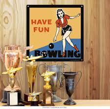 bowling have fun vintage style sports sign game room decor