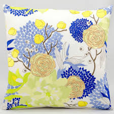 Blue Outdoor Cushions Mina Victory Blue And Yellow Flower White Outdoor Pillow Dfohome