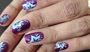 nail art tutorial one stroke technique pointy floral youtube
