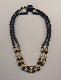 gold black bead necklace images Elegant vintage necklace made of black czech french jet glass and jpg