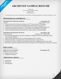 Game Warden Resume Examples by Resume Sample For Archivist Resumecompanion Com Resume