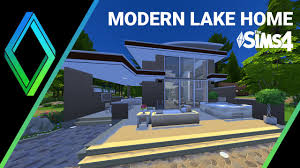 Modern Lake House by The Sims 4 House Building Modern Lake Cabin Youtube