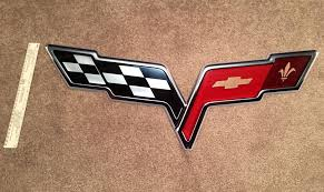 Corvette Flags C6 Flags Logo And Z06 Emblem Steel Wall Signs Garage Art