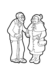 drawing grandfather and grandmother coloring pages drawing