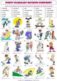 sports vocabulary matching worksheet look at the words in the list
