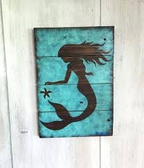 Outstanding Wooden Mermaid Wall Decor Mermaid Wall Decor Painted