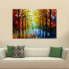 frameless huge wall art oil painting on canvas forest road wall
