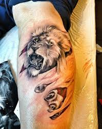 34 best lion tattoo on thigh images on pinterest animal tattoos