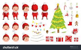 christmas boy red clothes creation set stock vector 730311937