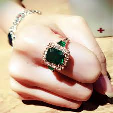 crystal stone rings images Fashion genuine austria crystal luxury classic rectangle green jpg