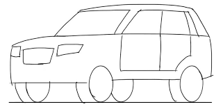 car drawing tutorial suv 3 4 front view junior car designer