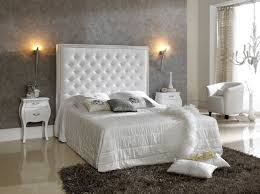 bedroom white tufted headboard with dresser and elegant wall