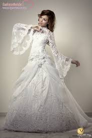 trumpet sleeve wedding dress luxury lebanon lace appliques flowers organza high neck