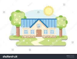 vector art house cute flat design stock vector 475058632