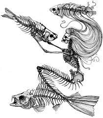 mermaid skeleton tattoo sketch best tattoo ideas gallery