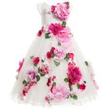 flower dress luxury flower luxury white tulle dress with pink flowers