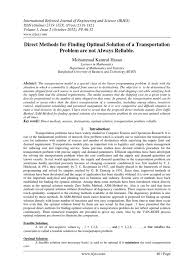 optimal solution for the transportation problem mathematical