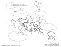 twin star coloring pages 4 cute kawaii resources