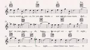 guitar o holy night christmas carol sheet music chords